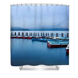 Jetty At Sun Moon Lake Shower Curtain by Yew Kwang