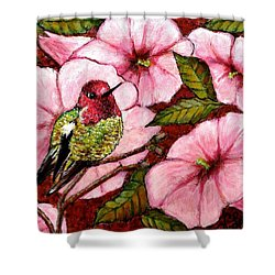 Shower Curtain featuring the painting Jewel Among Blooms by VLee Watson