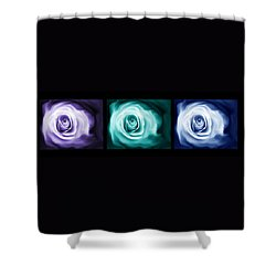 Jewel Tone Abstract Roses Triptych Shower Curtain by Jennie Marie Schell