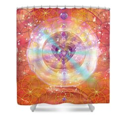 Jeweled Heart Of Happiness Shower Curtain by Alixandra Mullins