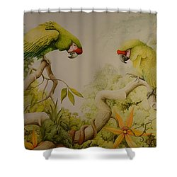 Jewels Of The Rain Forest  Military Macaws Shower Curtain