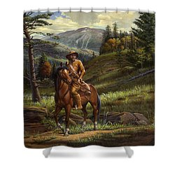 Jim Bridger - Mountain Man - Square Format Shower Curtain