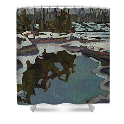 Jim Day Reflections Shower Curtain by Phil Chadwick