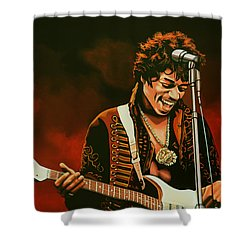 Jimi Hendrix Painting Shower Curtain by Paul Meijering