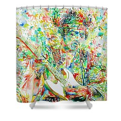 Jimi Hendrix Playing The Guitar Portrait.1 Shower Curtain