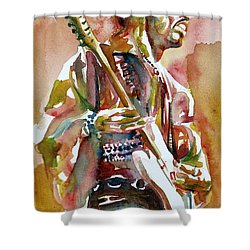 Jimi Hendrix Playing The Guitar Portrait.3 Shower Curtain