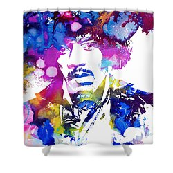 Jimi Hendrix - Psychedelic Shower Curtain by Doc Braham