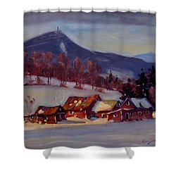 Shower Curtain featuring the painting Jimmie's Place by Len Stomski