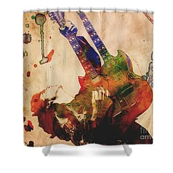 Jimmy Page - Led Zeppelin Shower Curtain by Ryan Rock Artist