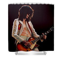 Jimmy Page In Led Zeppelin Painting Shower Curtain by Paul Meijering