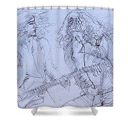 Jimmy Page And Robert Plant Live Concert-pen Portrait Shower Curtain by Fabrizio Cassetta