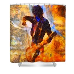 Jimmy Page Playing Guitar With Bow Shower Curtain by Dan Sproul