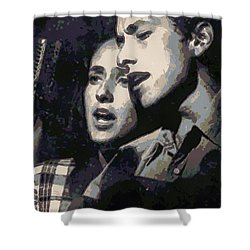 Joan Baez And Bob Dylan Shower Curtain by Paulette B Wright