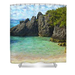 Shower Curtain featuring the photograph Jobson Cove Beach by Verena Matthew