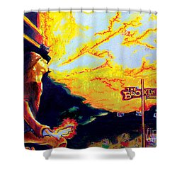 Joe At The Broken Spoke Saloon Shower Curtain by Albert Puskaric
