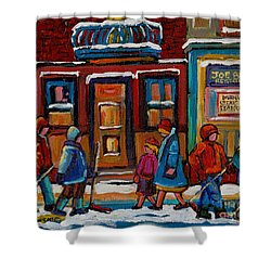 Joe Beef Restaurant And Boys With Hockey Sticks Shower Curtain by Carole Spandau