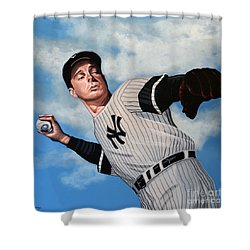 Joe Dimaggio Shower Curtain by Paul Meijering