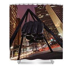 Joe Louis Fist Statue Detroit Michigan Night Time Shot Shower Curtain by Gordon Dean II