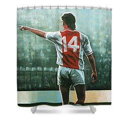 Johan Cruijff Nr 14 Painting Shower Curtain by Paul Meijering