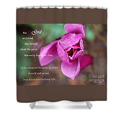 John 3 16 - Bible Verse Art Shower Curtain