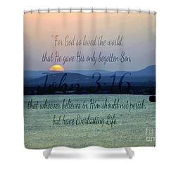 John 3 16 Lake Sunset Shower Curtain