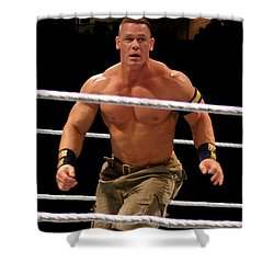 John Cena In Action Shower Curtain by Paul  Wilford
