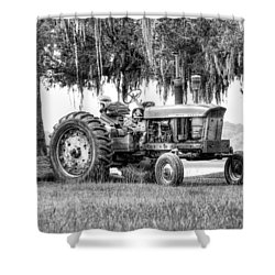 John Deer Tractor Under The Old Cedar Shower Curtain