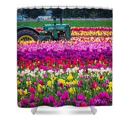 John Deere In Spring Shower Curtain