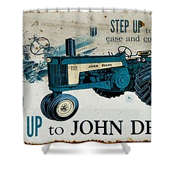 John Deere Tractor Sign Shower Curtain by Paul Mashburn