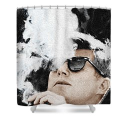 John F Kennedy Cigar And Sunglasses Shower Curtain by Tony Rubino