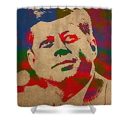 John F Kennedy Jfk Watercolor Portrait On Worn Distressed Canvas Shower Curtain by Design Turnpike