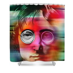 Shower Curtain featuring the digital art John Lennon Painting by Marvin Blaine