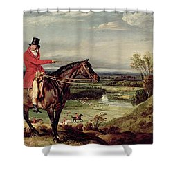 John Levett Hunting In The Park At Wychnor Shower Curtain by James Ward