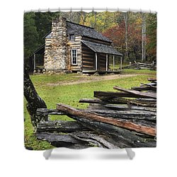 John Oliver Cabin - D000352 Shower Curtain by Daniel Dempster