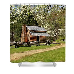 Shower Curtain featuring the photograph John Oliver's Cabin by Geraldine DeBoer