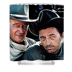 John Wayne And Robert Mitchum El Dorado 1967 Publicity Photo Old Tucson Arizona 1967-2012 Shower Curtain by David Lee Guss