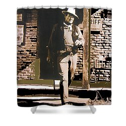 John Wayne Exciting The Sheriff's Office Rio Bravo Set Old Tucson Arizona 1959-2013 Shower Curtain by David Lee Guss