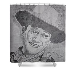 Shower Curtain featuring the painting John Wayne by Kathy Marrs Chandler