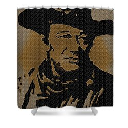 John Wayne Lives Shower Curtain by Robert Margetts