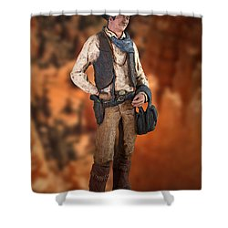 John Wayne The Cowboy Shower Curtain by Thomas Woolworth