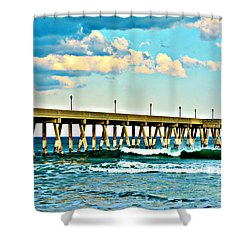 Shower Curtain featuring the photograph Johnnie Mercer's Pier by Kelly Nowak