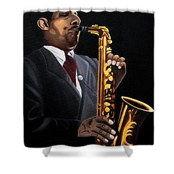Johnny And The Sax Shower Curtain