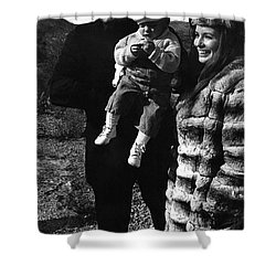 Shower Curtain featuring the photograph Johnny Cash And Family Old Tucson Arizona 1971 by David Lee Guss