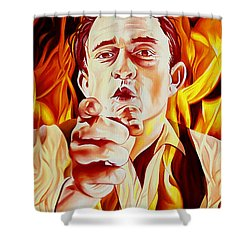 Johnny Cash And It Burns Shower Curtain by Joshua Morton