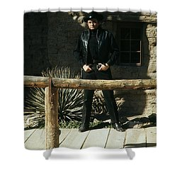 Shower Curtain featuring the photograph Johnny Cash Gunfighter Hitching Post Old Tucson Arizona 1971 by David Lee Guss