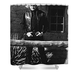 Shower Curtain featuring the photograph Johnny Cash Gunslinger Hitching Post Old Tucson Arizona 1971  by David Lee Guss