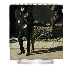 Shower Curtain featuring the photograph Johnny Cash Horse Old Tucson Arizona 1971 by David Lee Guss