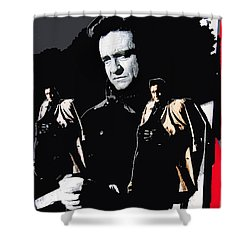 Shower Curtain featuring the photograph Johnny Cash Multiples  Trench Coat Sitting Collage 1971-2008 by David Lee Guss