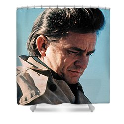 Shower Curtain featuring the photograph Johnny Cash  Music Homage Ballad Of Ira Hayes Old Tucson Arizona 1971 by David Lee Guss