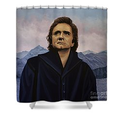Johnny Cash Painting Shower Curtain by Paul Meijering